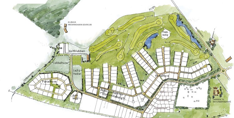 Bebyggelsesplanen for Golfparken omfatter ca. 70 ha og giver mulighed for 170 parcelhusgrunde, tæt-lav-boliger, sokkelhuse og etagebebyggelse samt en børnehave.